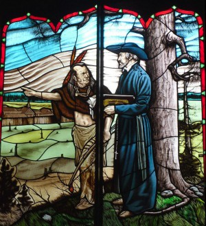 Stained glass featuring martyred priest Jean de Brébeuf, Martyrs' Shrine, Midland, Ontario