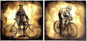 Sepia-toned portraits of early Tour riders.