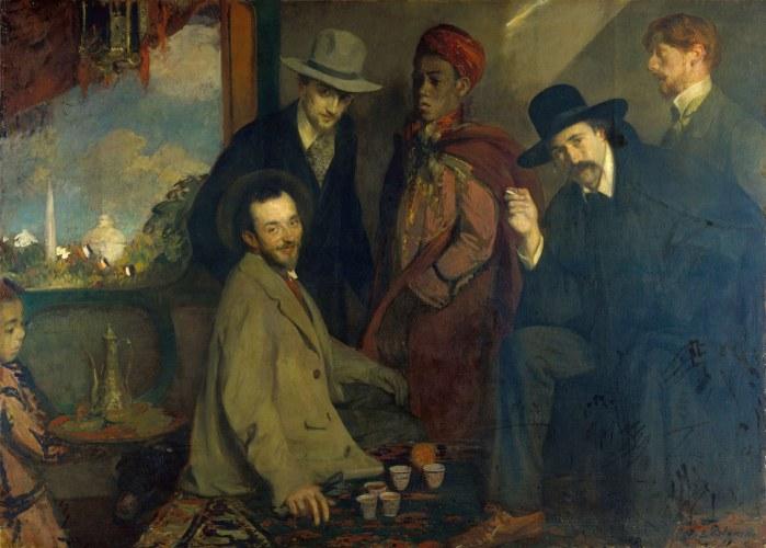 Figure 1 Jacques Emile Blanche, André Gide and his Friends at the café Maure of the 1900 Exhibition (1901) Rouen Musée des beaux arts. Left to Right: Henri Ghéon, Charles Chanvin, Athman Ben Salah, André Gide, Eugène Rouart.